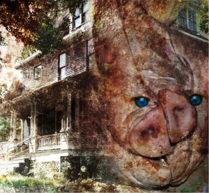 """Blue-eyed devil with verandah,"" by Adam Myers"