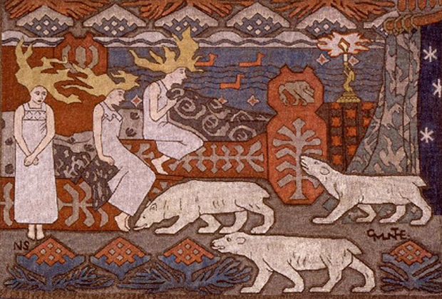 """Daughters of the Northern Lights"" - Artist: Gerhard Munthe. Woolen tapestry loosely based on Norse legends and mythology depicting three polar bears approaching three female figures with stylized flame-like blonde hair; stylized waves and mountains in background."