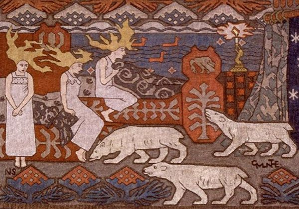 """""""Daughters of the Northern Lights"""" - Artist: Gerhard Munthe. Woolen tapestry loosely based on Norse legends and mythology depicting three polar bears approaching three female figures with stylized flame-like blonde hair; stylized waves and mountains in background."""
