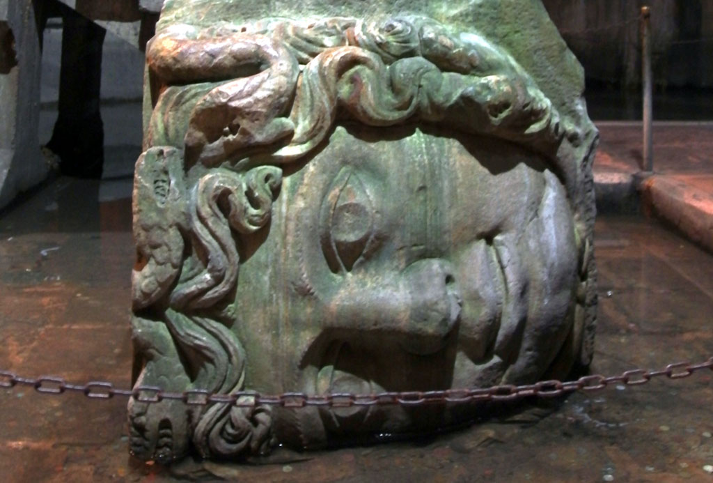 Toppled Medusa statue from one of Istanbul's ancient basilica cisterns.