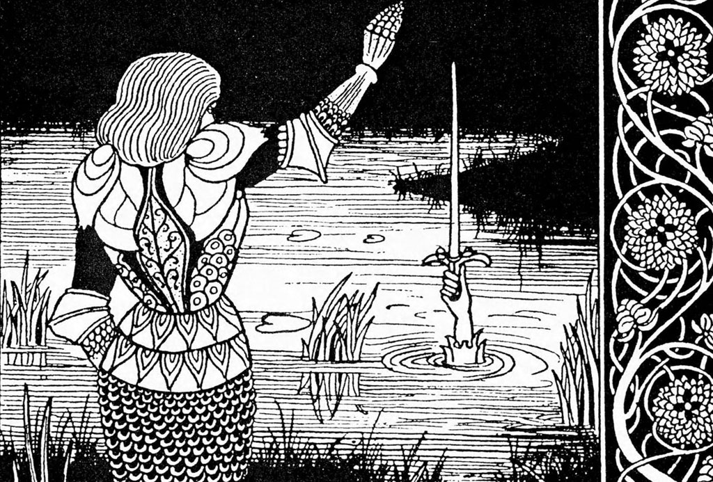 """Excalibur Being Reclaimed by the Lady of the Lake"" (Aubrey Beardsley, 1893)"